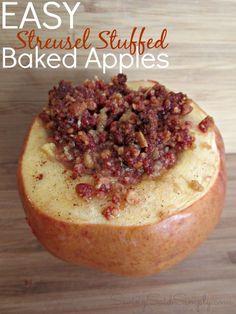 {Paid} Easy Streusel Stuffed Baked Apple Recipe #FiberOne   SavingSaidSimply.com
