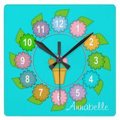 Felt Flowers Square Wall Clock #zazzle #flowers #clock #felt #pastel http://www.zazzle.com/zazzlewallclocks