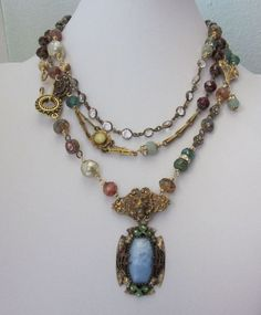 One of a Kind Repurposed Jewelry Necklace, Vintage Czech Pendant and Beads - JryenDesigns