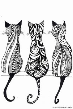 adorable bohemian kitties to color and try out your new new color markers!  Purrrfect addition to your coloring pages!
