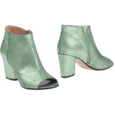 Maison Margiela Ankle Boots ($390) ❤ liked on Polyvore featuring shoes, boots, ankle booties, light green, open toe booties, zip ankle boots, leather booties, leather boots and leather open toe booties
