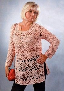 openwork crochet tunic. Wear with straight pants for a great look. Chart and diagram at source