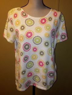 Christopher & Banks Short Sleeve T-Shirt Bright Pink Orange Green Sunburst XL #ChristopherBanks #TShirt #Casual