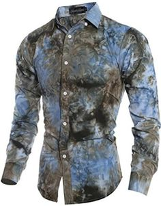 jeansian Men's Casual Tie Dye Printing Long Sleeves Dress Shirts 2 Colors 84A1