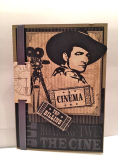 Love this old cine paper. Made a great masculine card.