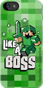 Minecraft Like a Boss apple iphone 5, iphone 4 4s, iPhone 3Gs, iPod Touch 4g case by redbubble pointsalestore corp