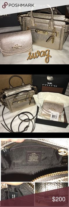 """COACH DUO Swagger 15 & Small Wallet in Peb Leather BRAND NEW WITH TAGS! COACH 54625 Pebble Leather Swagger 15 in Platinum/Gold (MSRP $250) inside multi function pocket, handles with 2"""" drop; detachable shoulder strap (adjustable) 23"""" drop, zip top closure, fabric lining, x2 hangtags 7.5"""" L x 4.25"""" H x 2.75"""" W COACH 55761 Double Flap Small Pebble Leather Wallet in Plat/Gold This small wallet has extra space beneath the top flap to stash your stuff! Has outside open pocket 4"""" L x 3.25"""" H Fits…"""