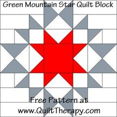 Green Mountain Star Quilt Block Free Pattern at ! Big Block Quilts, Star Quilt Blocks, Star Quilts, Mini Quilts, Barn Quilt Designs, Barn Quilt Patterns, Pattern Blocks, Quilting Designs, Quilting Stencils