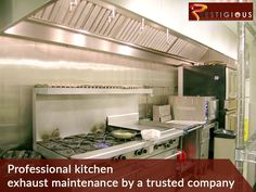 Professional kitchen exhaust maintenance by a trusted company. Call Prestigious Maintenance Inc Today! Professional Kitchen, Professional Cleaning, Kitchen Exhaust Cleaning, Exhausted, Loft, Restaurant, Furniture, Home Decor, Decoration Home