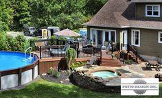 Terrasse en Trex Pool Deck Plans, Patio Plans, Above Ground Pool Decks, In Ground Pools, Swimming Pool Decks, House Deck, Backyard Landscaping, Landscaping Ideas, Dream House Exterior