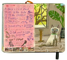 Siamese Cat, Black Phoebe & Philodendron | sketchbook | skbirdsong