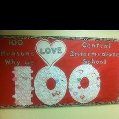 day of school/Valentine's Day Bulletin Board. February Bulletin Boards, Creative Bulletin Boards, Valentines Day Bulletin Board, Class Bulletin Boards, Teacher Boards, Valentines Day Activities, Holiday Activities, 100 Day Of School Project, 100 Days Of School