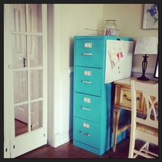 Painting old filing cabinets, large and small ... Use the small ones as side tables too!