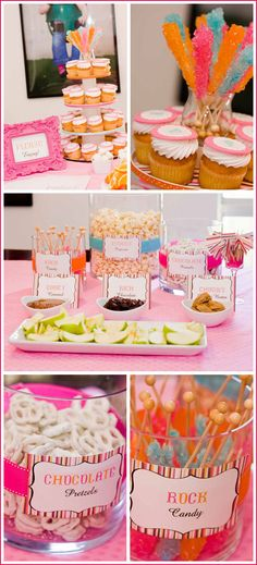 """Are you having trouble picking the perfect theme for your baby's first birthday? Try using a great color palette to pull your party together for a great effect without a """"traditional theme. First Birthday Parties, Girl Birthday, First Birthdays, Birthday Treats, Comida Para Baby Shower, Cake Blog, Party Pictures, Candy Party, Decoration"""