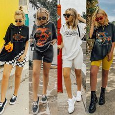 Biker shorts and vintage tees 🦋 Last summer ➡️ this summer, still one of . - Biker shorts and vintage tees 🦋 Last summer ➡️ this summer, still one of my favorite go-to outfits. Which look is your fav? 🧐 I linked a… Source by KatAitchH - Edgy Outfits, Mode Outfits, Retro Outfits, Short Outfits, Girl Outfits, Fashion Outfits, Fashionable Outfits, Big Shirt Outfits, Band Tee Outfits
