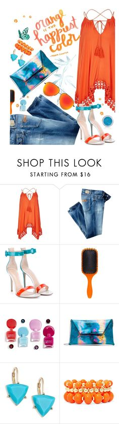 """Orange and Blue"" by juliehooper ❤ liked on Polyvore featuring River Island, Just Cavalli, Gianvito Rossi, Pantone, Denman, ABS by Allen Schwartz, Mixit, denim, Blue and orange"