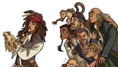 Captain Jack Sparrow & his crew - Pirates of the Caribbean Pirate Art, Pirate Life, Captain Jack Sparrow, Film Disney, Disney Art, Fanart, Pirates Of The Carribeans, Live Action, Geeks