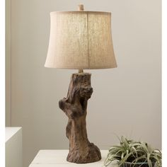 Contemporary Leon Table Lamp with Natural Finish Resin Base (Beige-TBL), Beige Off-White