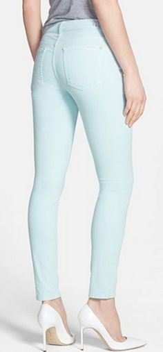 LOVE these #7ForAllMankind skinny jeans in #mint - perfect for spring! http://rstyle.me/n/gx7gdnyg6