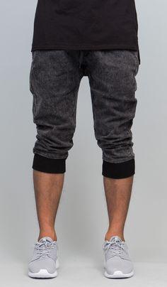 Black Drop Crotch Jogger Short   HYPER DENIM