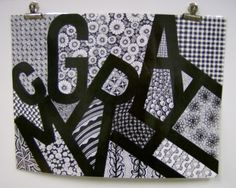 My teacher example Brookland Middle School Zentangle Name Design 8th grade lesson