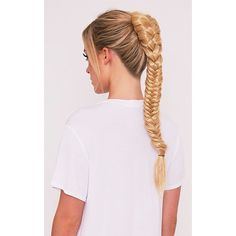 Golden Blonde Fishtail Plait Extension (€17) ❤ liked on Polyvore featuring beauty products, haircare, hair styling tools and golden blonde