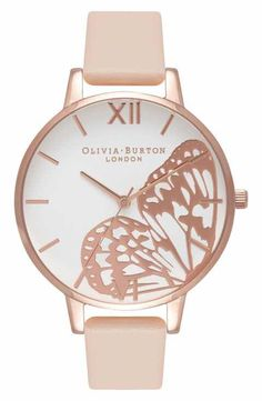 Olivia Burton Butterfly Wing Leather Strap Watch, - Capture the magical, whimsical nature of Olivia Burton with a beaming polished watch displaying a rose-gold butterfly wing atop its creamy white dial. Olivia Burton, Cute Watches, Cuir Rose, Rose Gold Watches, Beautiful Watches, Luxury Watches, Quartz Watch, Fashion Watches, Peach Rose