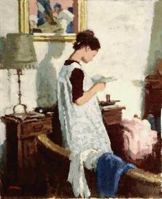 Francesco Serra Castellet - Girl reading in an interior