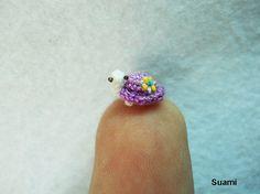 Tiny Flowery Turtle - Micro Miniature Crochet Tortoise - Purple Turtle - Made To Order