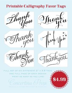 Set of 6 Printable Thank You Gift Tags by Concertina Press