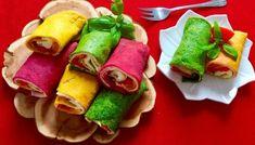 Kolorowe naleśniki Polish Recipes, Polish Food, Fresh Rolls, Finger Foods, Tacos, Menu, Mexican, Ethnic Recipes, Blog