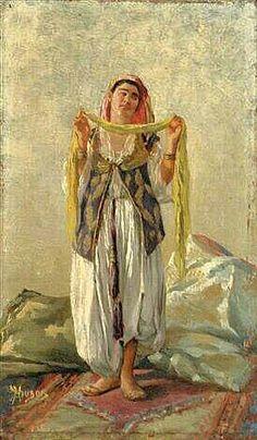 Peinture d'Algérie : Peintre Français,  Henri Pierre Hippolyte Dubois,(1837–1909), Huile sur panneau, Titre:  Danseuse mauresque d'Alger.