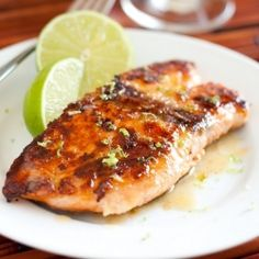 Pan Seared Honey Glazed Salmon with Browned Butter Lime Sauce - The Best Salmon I've Ever Eaten (bonus a 15 minute recipe) --says cooking classy Lots of great recipes here💜💜💜 Salmon Recipes, Fish Recipes, Seafood Recipes, Cooking Recipes, Cooking Tips, Honey Recipes, Cooking Food, Cooking Turkey, Snacks