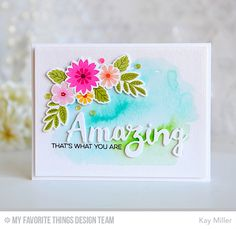 My Joyful Moments: MFT December Release Countdown Day 4. eatures the new Mini Modern Blooms stamp set and Die-namics along with the Doubly Amazing Die-namics and Amazing Stamp set. I watercolored the background with Peerless watercolors before adhering the flowers and word die. The Amazing word die is layered three times for dimension, and the rest of the sentiment is stamped with Black Licorice hybrid ink.
