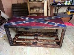 Confederate Flag wooden dyi table