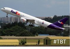 FedEx Boeing 757 freighter takes off from Singapore in Feb 2012