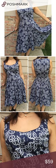 """Adrianna Papel Blue Dress Worn once. Adrianna Papel blue and white dress. Has a back zipper. Length of dress 40""""/ pit to pit 15.5""""/ waist 35"""". Made of obertiel material with cotton lining. Reasonable offers considered through offer button only. Adrianna Papell Dresses Midi"""