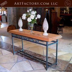 An Original Fine Art Design By Award Winning Artist H. Nick Handmade In The USA By Master Craftsman From Fine Grade, Hand Forged Wrought Iron, Genuine, Solid Full Length Timber artfurniture Solid Wood, Art Furniture, Decor, Wrought, Wood, Western Decor, Table, Furnishings, Coffee Table