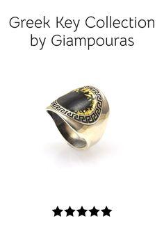 greek key ring #enamelring #greekkeypattern Titanium Jewelry, Greek Key, Small Business Marketing, Key Rings, Class Ring, Promotion, Fashion Accessories, Gemstone Rings, Eye