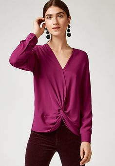KNOT FRONT LONG SLEEVE TOP £36.00  Easy does it. Relaxed in fit, cool in style, this top comes with a pleated knot detail to leave you tongue tied. Wear with your favorite skinnies.