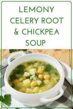 Lemony Celery Root & Chickpea Soup