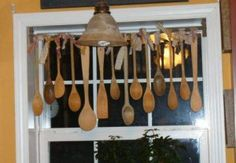 Wooden spoon window hanging - DIY craft ideas for country decor