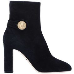 Dolce&Gabbana Suede Ankle Boots Black (59740 RSD) ❤ liked on Polyvore featuring shoes, boots, ankle booties, footwear, heels, nero, ankle boots, black suede boots, high heel bootie and black high heel booties