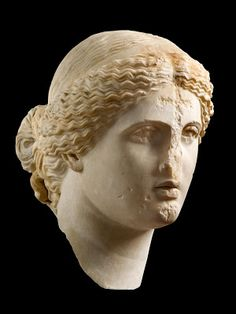 """Heaven and Earth: Art of Byzantium from Greek Collections"" at the National Gallery of Art, Washington.  Parian? marble Head of Aphrodite, 1st century [Credit: National Archaeological Museum, Athens]"