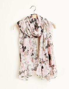 Foulard femme, rose clair, imprimé fleuri kaki et écru.