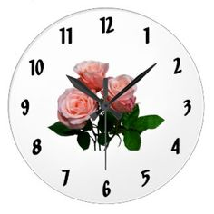 Three Light Pink Roses Wallclock