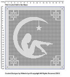 Ravelry: Filet Crochet Girl in the Moon pattern by Vikki Albano aka Viktoria-Lyn