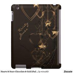 Hearts & Stars-Chocolate & Gold iPad Case