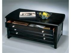 ASH-T381/20 - Ashley Carlyle Black Storage Cocktail Table | Mathis Brothers Furniture