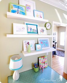 When kid's art is nicely framed and displayed, it helps build their esteem and desire to pursue art and be creative. By displaying their works of art on shelves, it offers you the flexibility to change the arrangement as they create new pieces.